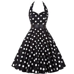 $enCountryForm.capitalKeyWord Australia - Polka Dot Dress Halter Party Dress Bow Hepburn Vintage Pin Up Rockabilly Dresses Robe Plus Size Elegant Midi Dress