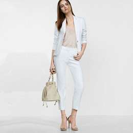 women formal blue pant suit NZ - Women Sky Blue Casual Office Business Suits Formal Work Wear Suits Elegant Pant Suits Summer Spring