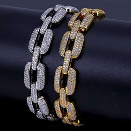 $enCountryForm.capitalKeyWord NZ - Iced Out Chain Necklace Bracelet Jewelry 15mm Width Hip Hop Full CZ Gold Silver Link Chains For Men