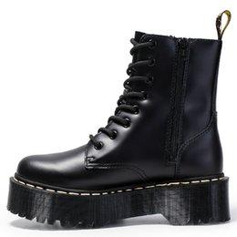 Mulheres militar jason martins botas botas de neve do punk feminino sapatos de couro genuíno outono grosso inferior ankle boot botas femininas em Promoiio