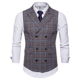 $enCountryForm.capitalKeyWord Australia - Business Vest Waistcoat Men New Men's Leisure Plaid Peak-lapel Double-breasted Waistcoat for Autumn and Winter 2019