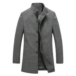 long tweed coat 2020 - Men Solid Long Trench Coat Autumn Winter Silm Fit Woolen Coat Stand Collar Warm Overcoat Casual Wool Blends Jackets chea