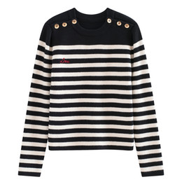 women buttons UK - Fashion-Top Colorful Striped Pullovers Women 2018 Long Sleeves Letter Print Button Women's Sweaters Pull Femme 070403