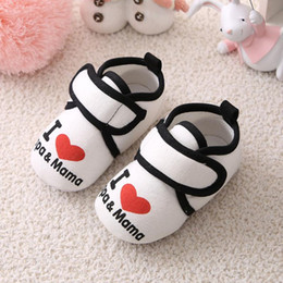 Toddler Newborn Baby Shoes Autumn I Love Mama Baby Boys Girls Infant Kids Boy Girl Soft Sole New First Walkers0-18M Canvas Sneak