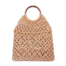 Hollow Fiber Australia - 2019 Popula Cotton Rope Hollow Straw Bag Sheer Macrame Tote Wooden Ring Rattan Handle Net Bag Vintage Retro Chic Handbag