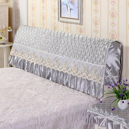 headboard beds Australia - Bed Head Cover Protective Cover Washable Dust Headboard with Embroidery Lace Storage Bag for Phone Remote Control