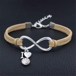 $enCountryForm.capitalKeyWord Australia - New Infinity Love I Heart Volleyball Charm Bracelets Beige Leather Suede Bangles for Men Boys Women Girl Jewelry Accessories Christmas Gifts