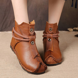 Ethnic shoEs womEn online shopping - Genuine Leather Ankle Boots Soft Bottom Women Boots Short Flat Woman Vintage Ethnic Mon Shoes