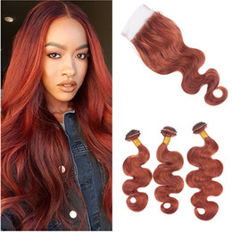 Red Copper Hair Australia - Dark Auburn Body Wave Peruvian Human Hair 3Bundles with Closure Copper Red Hair with Closure Reddish Brown Lace Closure 4x4 with Weaves