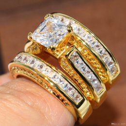 14kt ring yellow Australia - Nlm99 Nlm99 Sparkling Fashion Jewelry Princess Ring 14KT Yellow Gold Filled 3 IN 1 White Topaz Party CZ Diamond Women Wedding Bridal Ring