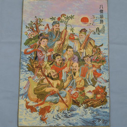 china art paint NZ - Wholesale Brocade Cloth Painting Silk Embroidery Painting Thangka Machine Embroidery Silk Weaving Eight Immortals Figure Eight Immortals Cro