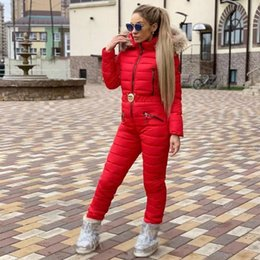 warm jumpsuits women Australia - New Winter Hooded Jumpsuits Parka Elegant Cotton Padded Warm Sashes Ski Suit Straight Zipper One Piece Women Casual Tracksuits V191108