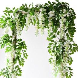2M Wisteria flores artificiales vid boda de la guirnalda del arco Decoración falsas plantas de follaje de ratán se arrastra Faux Flores pared de la hiedra en venta