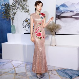 125341f9e5 Hit fashion style Winter Bride Winter 2019 Marriage New Cheongsam Long Chinese  Evening Dress Skirt Princess