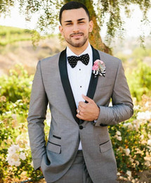 $enCountryForm.capitalKeyWord UK - Classic Designe Grey Men Wedding Tuxedos Black Lapel Groom Tuxedos Popular Jacket Blazer Men Business Dinner Darty Suit(Jacket+Pants+Tie)
