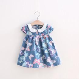Discount cartoon clothes korean - good quality 2019 Infant Summer Korean Cartoon Baby Jeans Girls Pastoral Dress Princess Clothing Printed Girl Kids Casua
