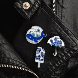 sea coral wholesale NZ - Sea Wave Series Brooch Blue Whale Ice Cream Umbrella Wave Iceberg Brooches for Women Cartoon Enamel Pin Hat Denim Badge Jewelry