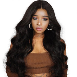 Silk Base Full Lace Wig Free UK - Virgin Malaysian Free Part Silk Base Full Lace Wigs with Baby Hair Around Body Wavy Silk Top Lace Front Wigs for Black Women