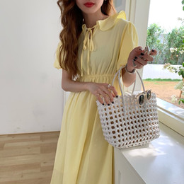 cotton lantern Australia - wholesale Lantern Sleeve Cotton Summer Dress Korea Design Ruffles Bandage Slim INS Girl's Chic Dress Women Holiday Casual Midi Dress
