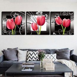pictures tulip paintings Australia - Canvas Painting 3 Pieces Tulip Flowers Plant Posters Modern Home Wall Decor Canvas Art HD Print Wall Pictures For Child Bedroom
