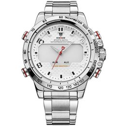 High End Sports Watches Australia - WEIDE-WH6102 Men's 30M Waterproof Stainless Steel LED+Pointer Dual Display High-end Quartz Business Sports Dress Leisure Watch