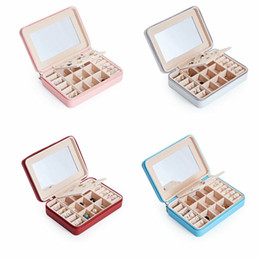 $enCountryForm.capitalKeyWord Australia - Womens Portable Travel Jewelry Box Organizer PU Jewellery Ornaments Case Storage With Mini Makeup Mirror