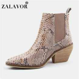 sexy woman snake print 2019 - Taoffen Ankle Boots Women 2020 European Winter High Heels Sexy Shoes Women Fashion Pointed Toe Snake Print Footwear Size