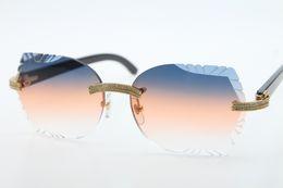 $enCountryForm.capitalKeyWord Australia - 2019 Free Shipping Big Stones Glasses Black Buffalo Horn 3524012 Rimless Sunglasses Round Unisex High end designer Glasses Carved Orange Len