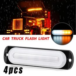 motorcycle side marker lights Canada - White+Yellow Work Light Motorcycle Replacement 6-LED Truck Side Marker