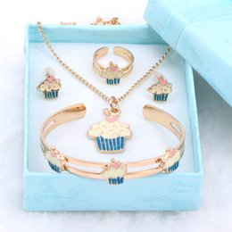 $enCountryForm.capitalKeyWord Australia - Fashion Girl Jewelry Lovely Crystal Ice-cream Children Necklace Bangle Earring Ring Kids Baby Costume Jewelry Set And Boxes SH190716