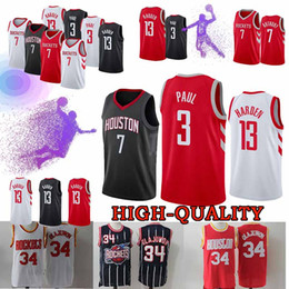 22eb35798a9 Houston Chris Paul 3 Jerseys Rockets James Harden 13 Hakeem Abdul 34  Olajuwon Carmelo 7 Anthony Jersey Top quality Youth Adult