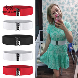 wholesale cinch belts Australia - Fashion Wide Stretch Belt Women Elastic Red Waist Cummerbund Cinch Belt For Dress Female White Waistband 119