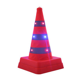 $enCountryForm.capitalKeyWord UK - 41cm High Foldable Double Warning LED Safety Road Cone Barrier Expansion Ice-cream Cone Charging Reflective Traffic Cones