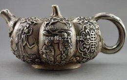 Old Teapots UK - Collectible Decorated Old Handwork Tibet Silver Pumpkin Immortal Child Teapot Statue fast Shipping