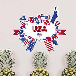 wall flags Canada - America Flag Landmark Statue Liberty Pattern Illustration Removable City Buildings Art Decals Wallpaper for Room Decal