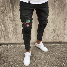 gothic jeans Australia - Men's Fashion Vintage Ripped Jeans Super Skinny Slim Fit Zipper Denim Pant Destroyed Frayed Trousers Cartoon Gothic Style