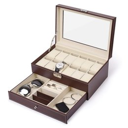 wood drawer boxes Australia - 12 Slots Watch Box Mens Watch Organizer Pu Leather Case With Jewelry Drawer For Storage And Display(Brown)