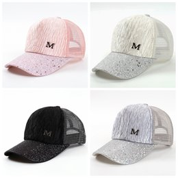$enCountryForm.capitalKeyWord Australia - M Letter Cap Summer Mesh Baseball Caps Girl Wrinkle Snapbacks Fashion Hip Hop Cap Hat Couples Flat Cap Party Hats GGA2015