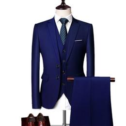 Casual Trouser Suits NZ - Blazers Pants Vest Sets New Fashion Groom Wedding Dress Suits   Men's Casual Business 3 Piece Suit Jacket Coat Trousers Q190521