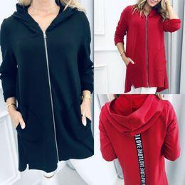Wholesale elegant coat hooded resale online - Women Warm Zipper Hooded Long Jacket Coat Letter Splice Pockets Jacket Autumn Elegant Woman Long Sleeve Casual Black Red Outwear