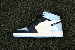 grade school shoes NZ - 2019 new 1 retro High OG Patent UNC Blue lady kids basketall shoes high quality 1s UNC BLUE CHIL youth big boy  grade school grils sneakers