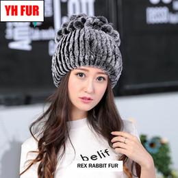 $enCountryForm.capitalKeyWord Australia - New Fashion Lovely Women Natural Rex Rabbit Fur Hat Good Elastic Floral Striped Caps Russian Winter Warm Knitted Genuine Fur Hat