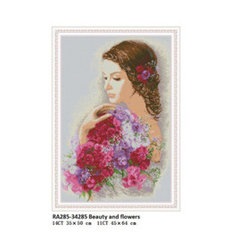 digital printing flowers Canada - Beauty and flowers Patterns DIY Handwrok Crafts Cross Stitch Kits Printed Canvas DMC Counted Cross-stitch Embroidery Needlework Home Decor