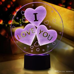 Magical Lighting Australia - Magical Optical Illusion 3D LED Night Light USB Table Lamp Novelty Atmosphere Light Touch Button Gift for Valentine's Day