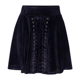 girls pleated skirts NZ - 2019 Spring Pleated Skirts Women Front Lace up Punk Gothic Mini Skirts High Waist Girls Female Velvet Skirts