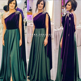 $enCountryForm.capitalKeyWord Australia - Green Grape Cheap 2019 African Evening Dresses One Shoulder Beaded Satin Prom Dresses High Split Formal Party Bridesmaid Pageant Gowns