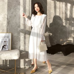 $enCountryForm.capitalKeyWord NZ - Bgteever Ruffles Polka Dot Women Chiffon Dress Elastic Waist Flare Sleeve Female Long Vestidos Retro A-line Women Dress 2019 J190611