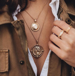 imitation gold coins NZ - pendant necklace bohemian female double-layer necklace retro gold carved coin necklace jewelry new 2019