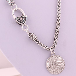 $enCountryForm.capitalKeyWord Australia - Personality Sporty Jewelry For Unisex Pendant Necklace Volleyball Shape Design With Sparkling Crystals Wheat Chain Necklace