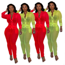color arts Canada - Women Tracksuit Sexy Two Piece Outfits Fluorescent Candy Color Cardigan Button Long Sleeve Jacket Coat Pencil Pants Suit Beach Clothes E3201